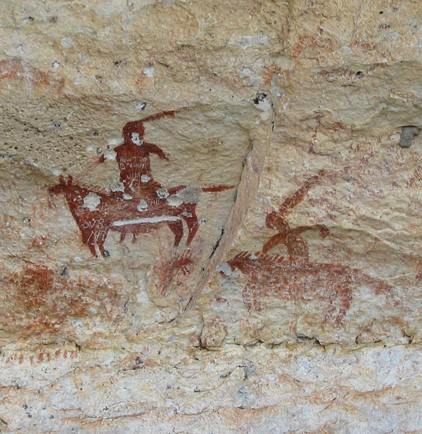 Sadly, many of the images at Meyers Springs, a site north of Dryden, have been used for target practice. Bullet holes riddle the body of the horse and rider (photograph courtesy of Shumla Archeological Research and Education Center 2008).