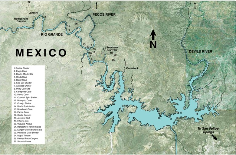 Regional map of major archeological sites yielding information about the ancient Texans in the Lower Pecos Canyonlands. Of the estimated 3,000 archaeological sites once present in the area near the mouth of the Pecos River, a very small number have been systematically studied by archeologists.