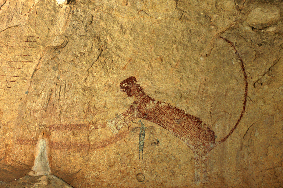 This nine foot long Pecos River style feline is one of at least eight painted on the shelter wall at Panther Cave (photograph courtesy of Jean Clottes 2006).
