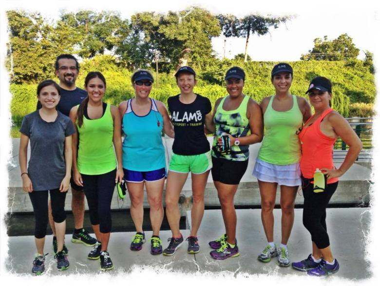 Danae Quijano and Jen Barker's Alamo 180 group pose for a photo after a long run. Courtesy photo.