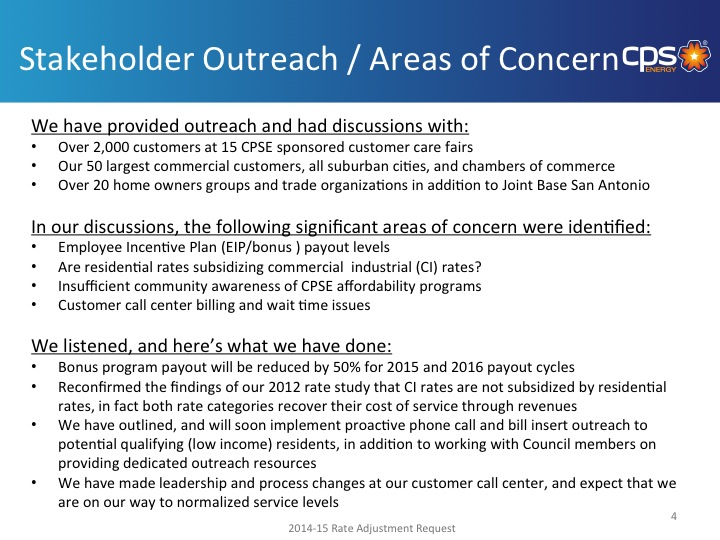 A slide from CPS Energy's presentation to City Council outlining its stakeholder outreach.