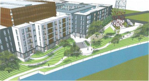 Elan Riverwalk Apartments. Rendering courtesy of Michael Hsu House of Architecture.