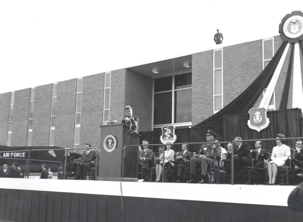 """President John F. Kennedy delivers his famous """"Cap Over the Wall"""" speech at Brooks Air Force Base on Nov. 21, 1963. Photo courtesy of Brooks City-Base."""