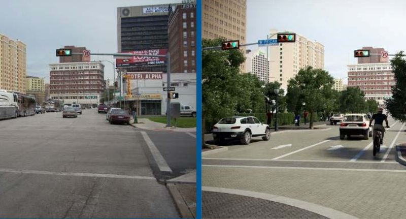 A before photo (left) and after rendering (right) of South Main Avenue from César Chávez Boulevard to its dead end at the Bexar County Courthouse parking lot. Image from COSA Downtown Transportation Plan.
