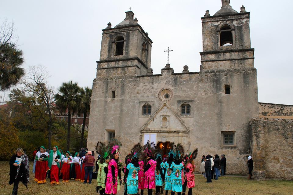 """La Danza de Matachines"" at Mission Concepción. Photo by Peter Ray."
