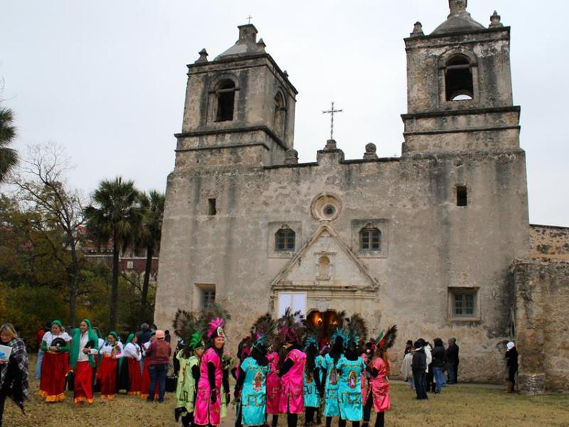 """La Danza de Matachines"" at Mission Concepción. Photo by Peter Ray."