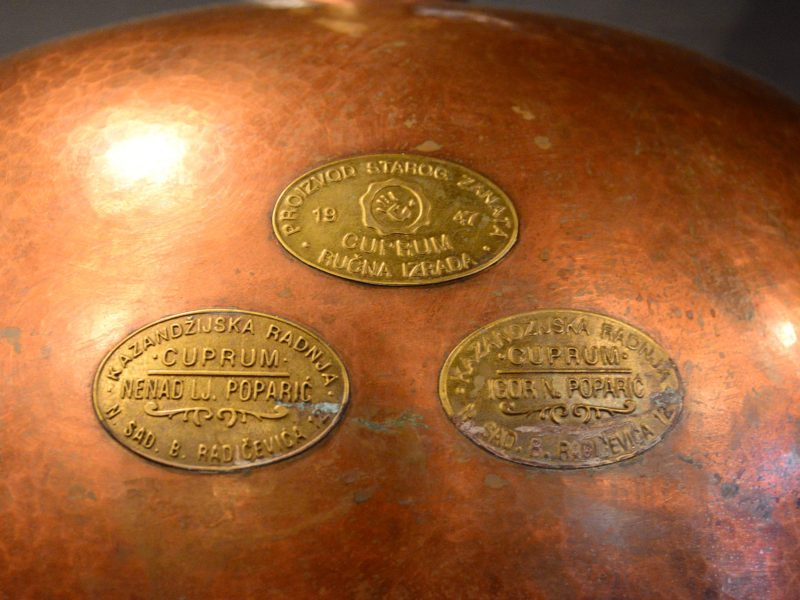 Labels on the copper still reveal its Serbian origins. Photo by Page Graham.