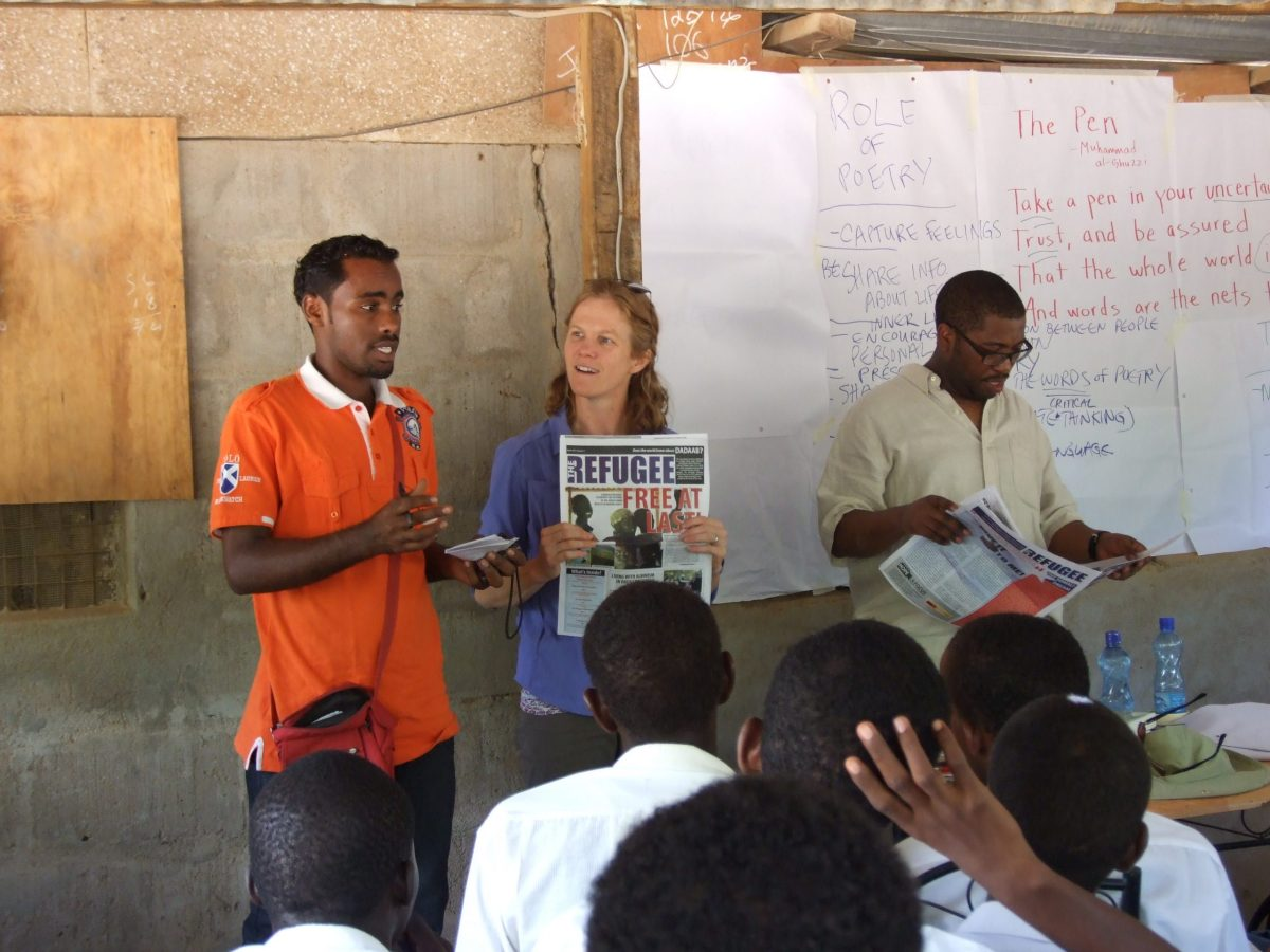 Jenny Browne during her trip to Kenya and Sierra Leone to teach poetry. Photo by Kelly Bedeian.