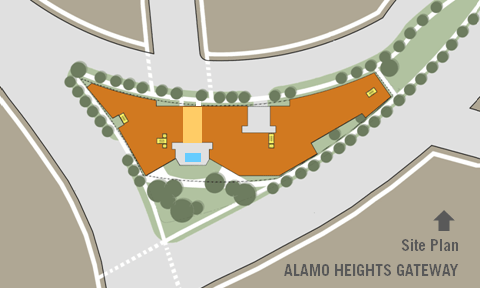 Site plan for Alamo Heights Gateway. Image courtesy of Overland Partners
