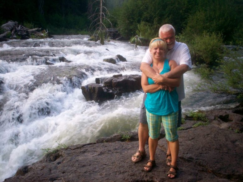 Alison Miller and Chuck Dearing on the road at Rogue River, Oregon.