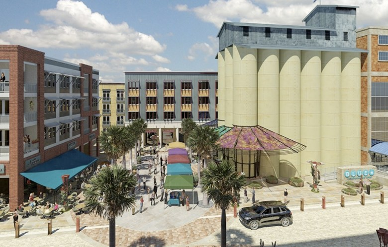 """""""Located in the Southtown arts district across from the historic King William neighborhood , Big Tex capitalizes on the recently completed San Antonio River ecosystem restoration project and populates almost half a mile of its west bank with apartments and restaurants."""" Words and renderings from Alamo Architects."""