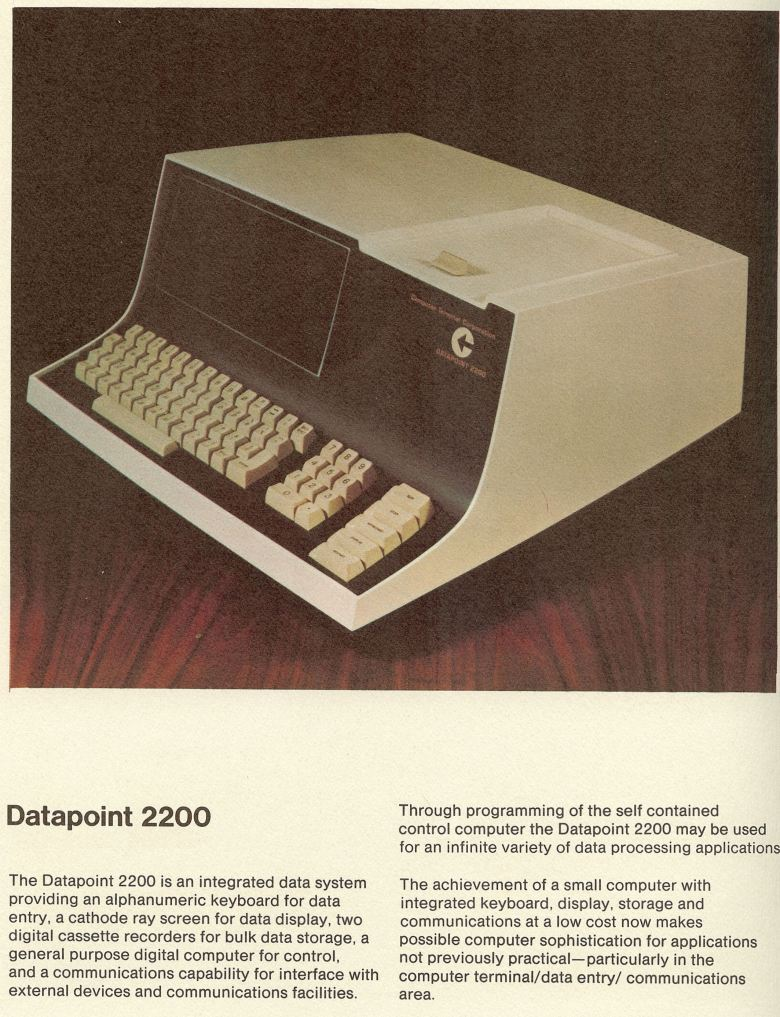 Product literature for the original Datapoint 2200. Courtesy of Jack Frassanito.