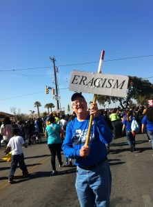Poet Don Mathis at the 2014 MLK Day march in San Antonio. Photo by Betsey Garland.