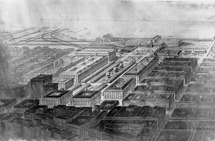 The Group Plan, a long public park flanked by the Cleveland's major civic and governmental buildings. Public domain photo from The Encyclopedia of Cleveland History.