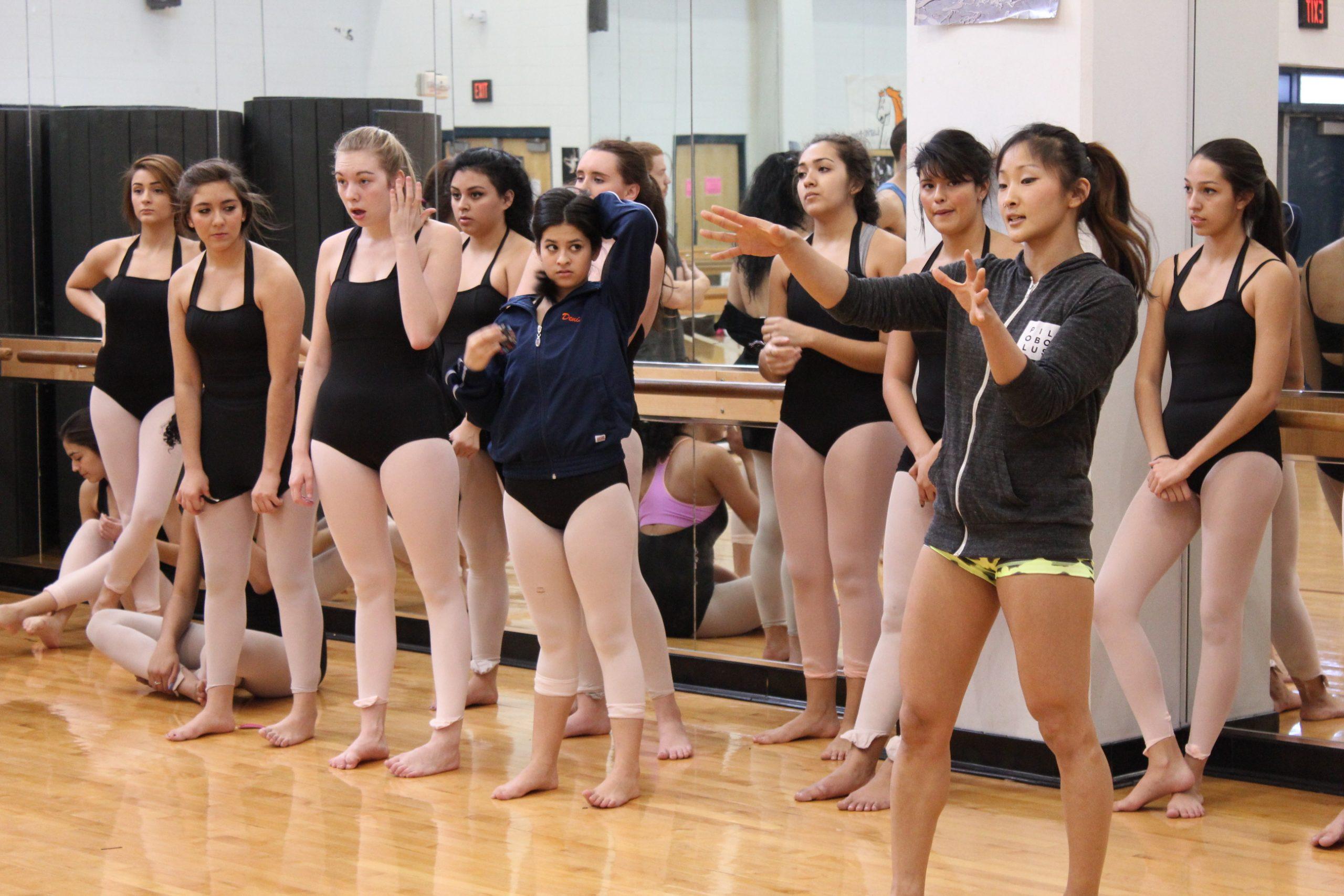 Pilobolus Dancers teach a master class at Brandeis High School before their performance in San Antonio. Photo Melanie Robinson.