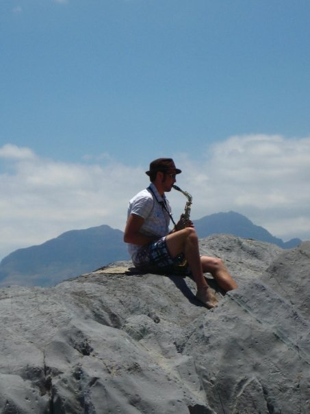Rockin' on top of a beachside rock near Cape Town, South Africa. Author photo.