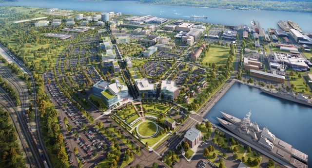 A bird's eye view of the The Navy Yard redevelopment in Philadelphia. Rendering courtesy of Neoscape for Robert A.M. Stern Architects.