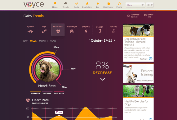 """""""Voyce measures key vital signs and other wellness indicators through wearable technology and proprietary algorithms. Using that information, Voyce provides you with trends and valuable insights, helping you stay proactive about your dog's overall health, behavior, and wellbeing."""" Words and image courtesy of Voyce."""