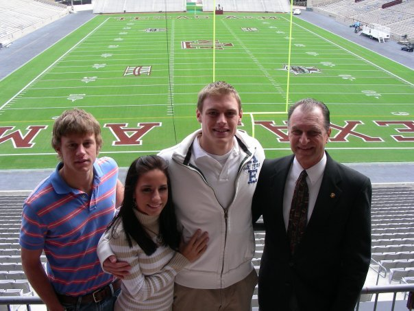Members of the Westerman family(?) at Texas A&M stadium. MORGAN: COULD I GET THEIR NAMES/RELATIONS?