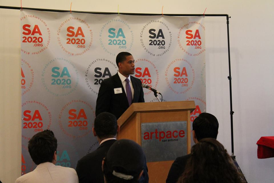 Brandon Logan addresses SA2020 staff and media at the 2014 Resolution Leader launch. Photo courtesy of SA2020.