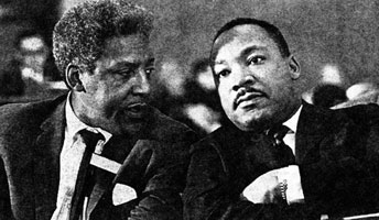 Civil rights activist Bayard Rustin, who was a gay man, with Martin Luther King, Jr.