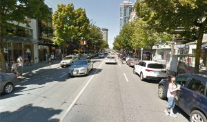 Robson Street in Vancouver. Visible in the photo are stores like Nike, Gap, and GNC. Could this be the future of Houston Street? Photo courtesy Google Maps.
