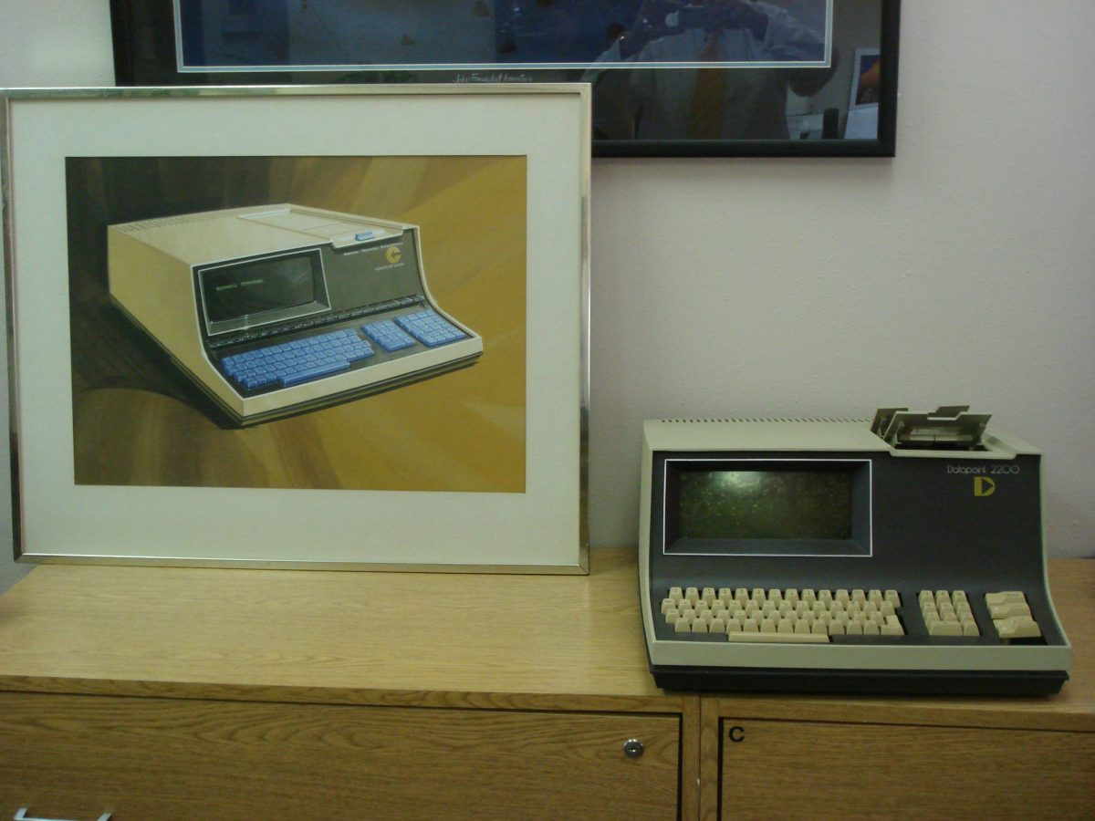 An original Datapoint 2200 beside the original product design sketch. Photo by Jack Frassanito.