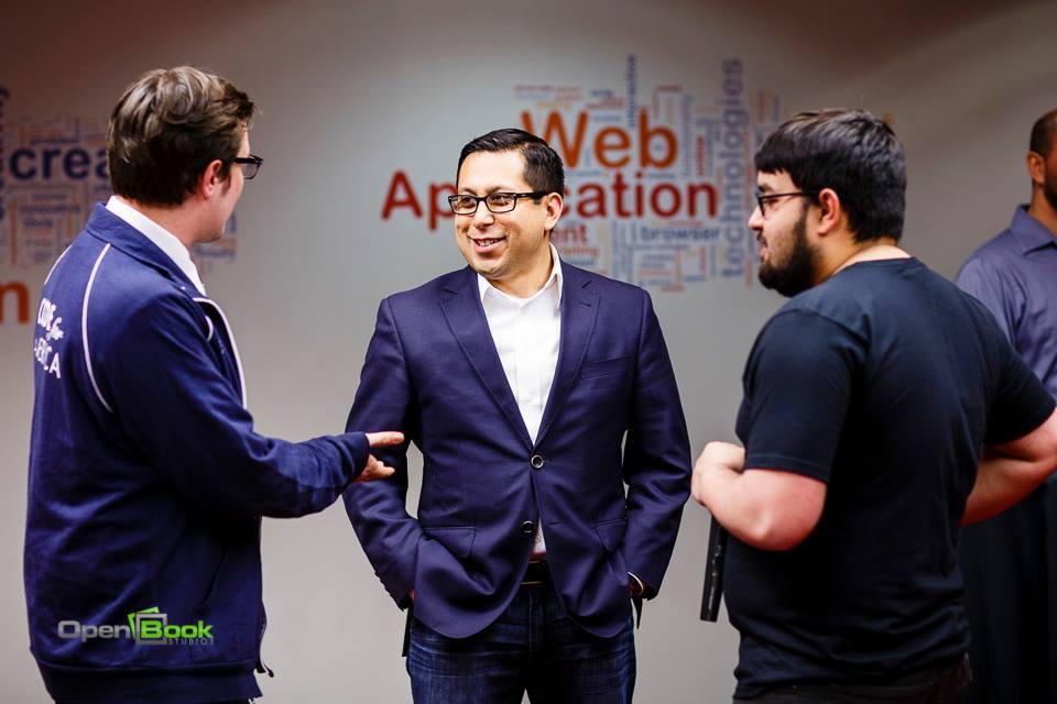 Councilman Diego Bernal (center) chats with CfA Fellow David Leonard (left) and Geekdom staffer Ryan Salts (right) at Geekdom.
