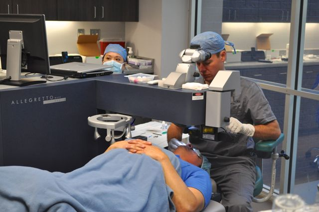 Dr. Gregory Parkhurst performs optical surgery with Clinical Trial Research Coordinator Amy Ford.