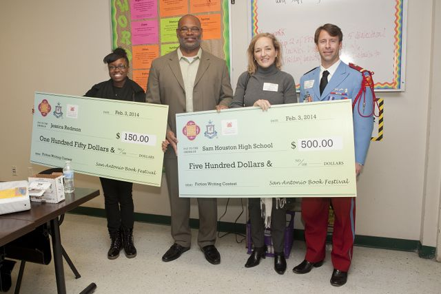 (From left to right) San Antonio Book Festival winner and eleventh grader Jessica Redmon, Sam Houston High School Principal Darnell Maurice White, San Antonio Public Library Foundation President Tracey Ramsey Bennett and Texas Cavaliers Publicity Chairman Clint Hennessey. Photo courtesy of SABF.