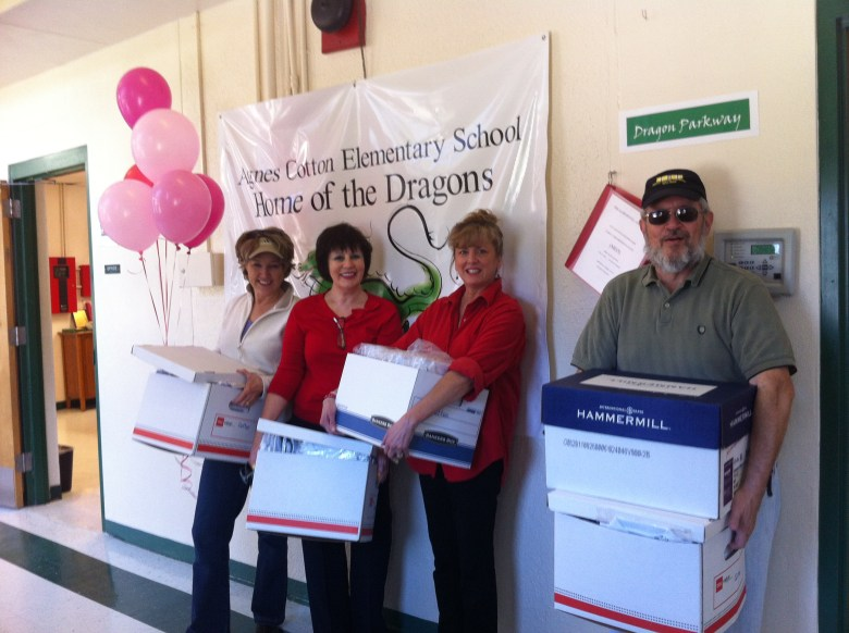 Members of Monte Vista's Faith Convening making a uniform drop-off at Cotton Elementary.