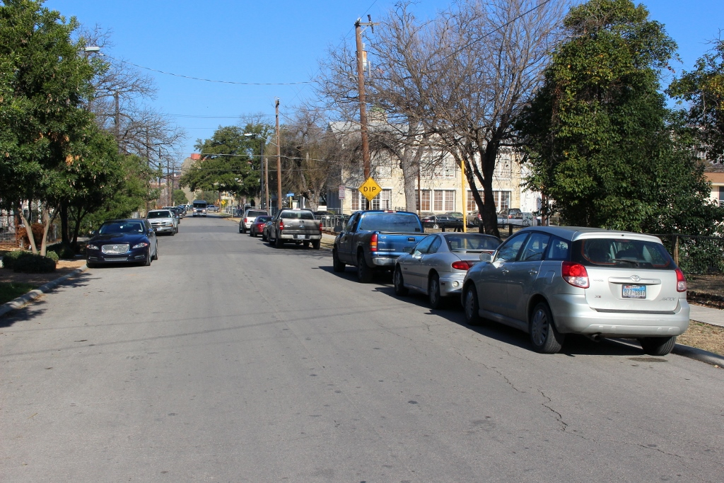 This portion of Lavaca Street near SAISD headquarters has been a source of contention between homeowners and people who think they have a right to park in front of their homes. Photo by Page Graham.