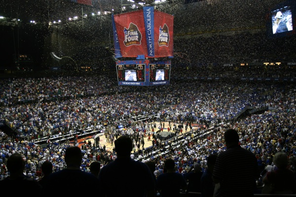 As Memphis claims victory over UCLA during the 2008 NCAA Men's Division Basketball Tournament, confetti is dropped from the Alamodome's ceiling in San Antonio. Photo courtesy of San Antonio Sports.