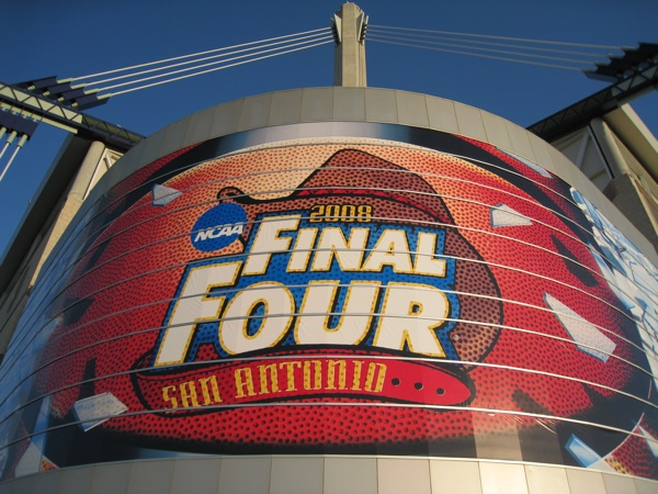 The Alamodome, decorated for the 2008 NCAA Men's Division Basketball Tournament. Photo courtesy of San Antonio Sports.