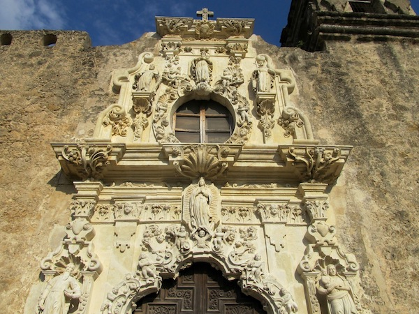 Close-up of restored frontispiece at Mission San José. Photo by Carol Baass Sowa/Today's Catholic.