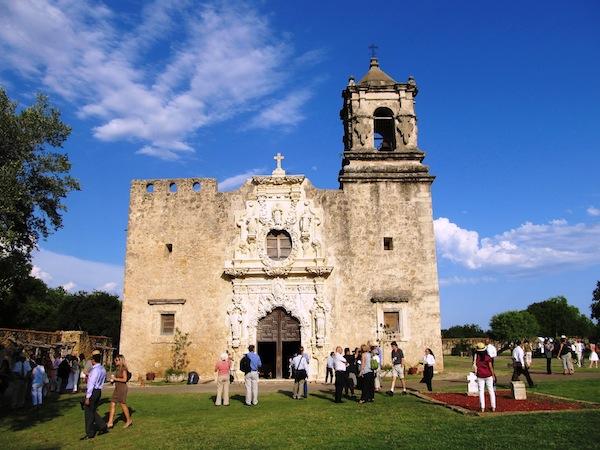 Mission San José with newly restored frontispiece. Photo by Carol Baass Sowa/Today's Catholic.