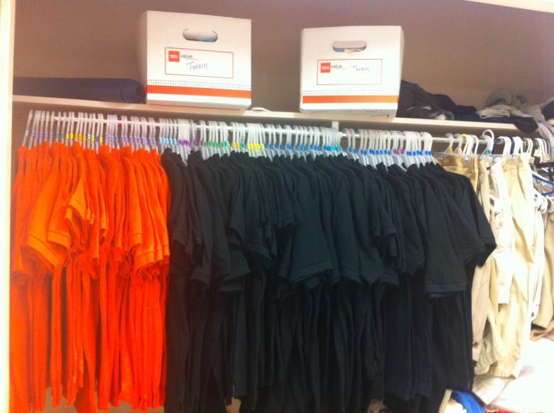 A closet full of new uniforms for Twain Middle School.