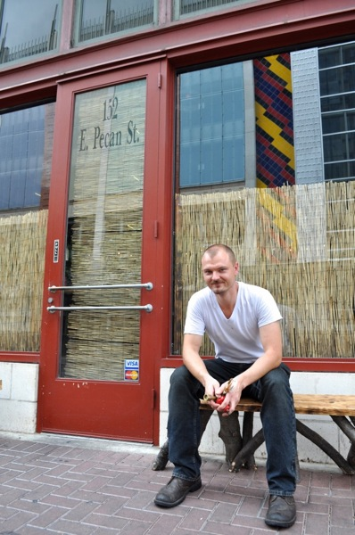 Chef Michael Sohocki poses for a photo after the lunch rush at Kimura, right around the corner from Gwendolyn. Photo by Iris Dimmick.
