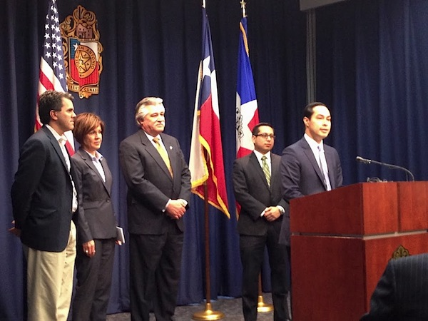 Mayor Julián Castro (right) announces San Antonio's Google Fiber potential with (from left) Mark Strama of Google Fiber Austin, City Manager Sheryl Sculley, District 6 Councilman Ray Lopez, and District 1 Councilman Diego Bernal.