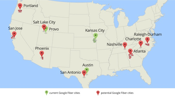 Map of current and potential Google Fiber cities.