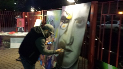 Graffiti artist and painter Mike Arguello (aka COMP) at the Limelight during Creative Creatures. Photo by Shirley Parodi.