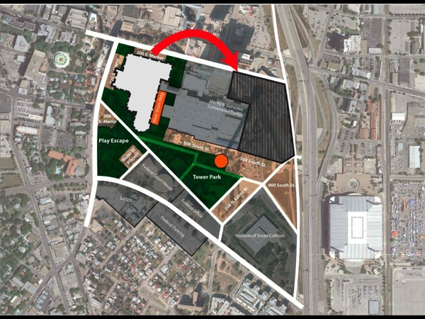 Graphic illustrating the Convention Center's move courtesy of HPARC.