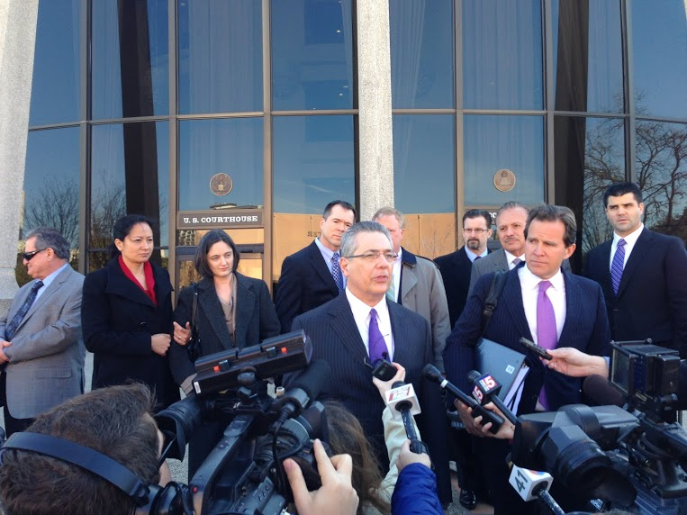 Barry Chasnoff, representing two couples challenging Texas' ban on same-sex marriage, address the media after a hearing. Photo by Randy Bear.
