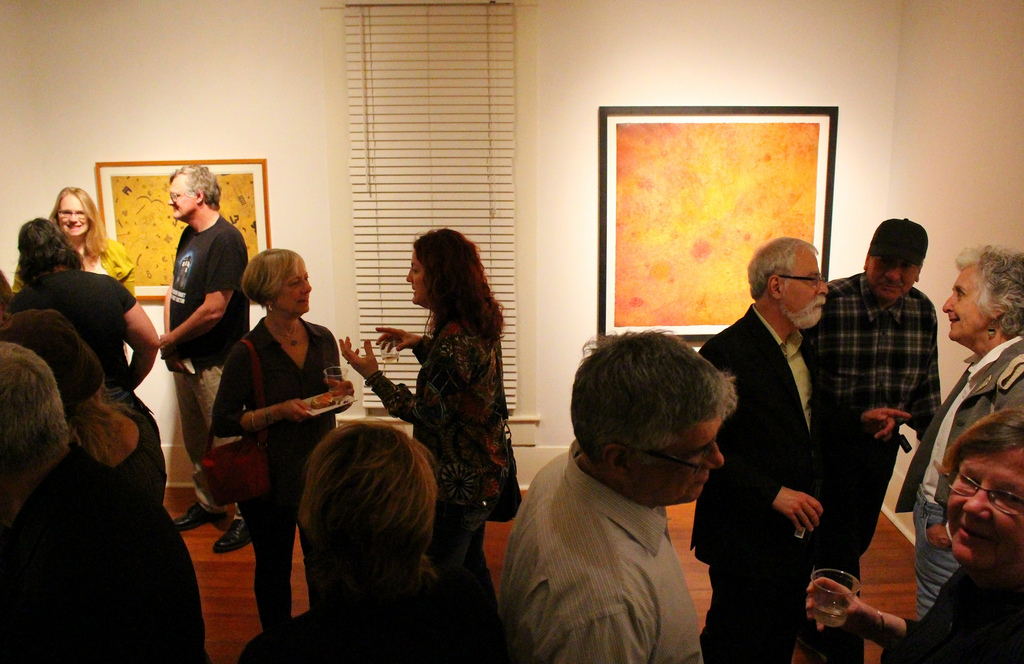 """Opening reception for """"Vague Chatter"""" exhibit by Paula Owen at REM Gallery. Photo by Page Graham."""