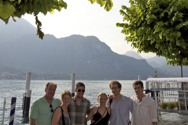 (Ferom Left) Dan Goodgame, Marcia Logan, Sam Goodgame, Elsa Bouillard, Clayton Goodgame and Michael Goodgame vacation at Lake Como after Clayton's tour of duty in Afghanistan. Photo courtesy of the Goodgame family.