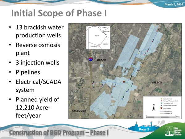 Description of Phase 1 of SAWS' brackish water desalination project as presented to the SAWS board on March 4, 2014.