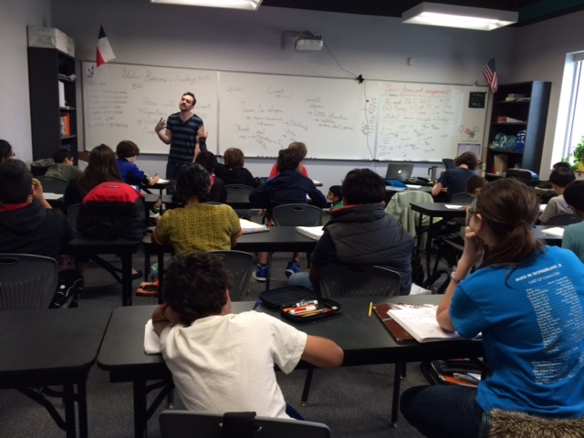 Adrian Gallegos leads his World History class at BASIS San Antonio.