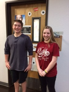 BASIS San Antonio 8th-graders, Carson Harris (l) and Morgan Teel