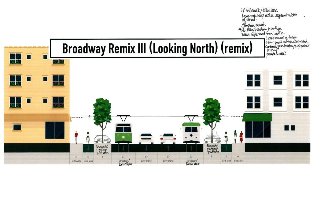 A preliminary sketch of a redesign for Broadway Street as presented to VIA by the City of San Antonio.
