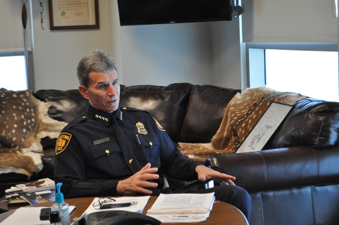 SAPD Chief McManus in his office at the San Antonio Public Safety Headquarters. Photo by Iris Dimmick.